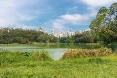 城市摩天大楼的看法从Aclimacao公园的 免版税库存图片
