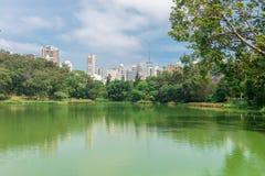 城市摩天大楼的看法从Aclimacao公园的 库存照片