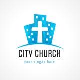 城市教会商标 免版税库存照片