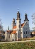 城市教会在维斯比,瑞典 图库摄影
