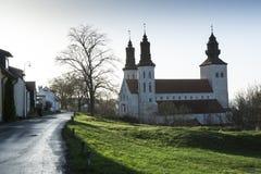 城市教会在维斯比,瑞典 免版税库存图片