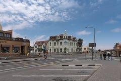 城市斯瓦科普蒙德,纳米比亚的Hohenzollernhaus、纪念碑和地标 库存图片