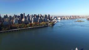城市新的地平线约克 纽约的空中射击 4K决议 股票录像