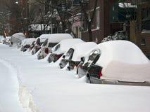 城市新的雪风暴约克 免版税库存图片