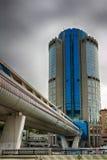 城市日克里姆林宫室外的莫斯科 商业中心在俄罗斯 财务往来的传导 莫斯科俄国 免版税图库摄影