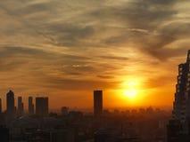 城市日落在伊斯坦布尔 免版税库存图片