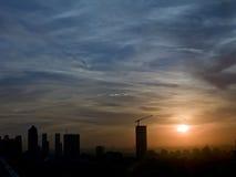 城市日落在伊斯坦布尔 免版税库存照片