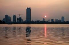 城市日落 免版税图库摄影