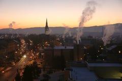 城市早晨在冬天 免版税图库摄影