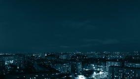 城市晚上全景。设色。Timelapse 股票录像