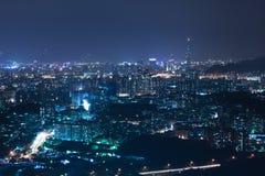 城市晚上场面台北 免版税库存照片