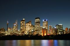 城市晚上悉尼 库存图片
