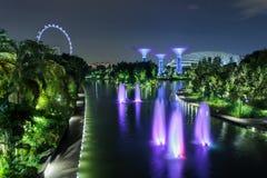 城市晚上新加坡 图库摄影