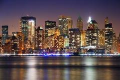 城市曼哈顿新的晚上地平线约克 图库摄影
