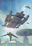 城市未来派太空飞船 库存照片