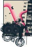 城市桃红色海报 库存图片