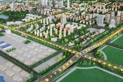 城市模型从上看下的飞机轮廓 免版税库存图片
