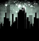 城市横向黑暗的不动产例证 图库摄影