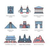 城市欧洲、亚洲和美国的旅行地标 向量例证