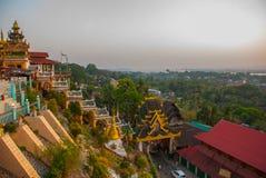 城市毛淡棉的顶视图从塔Kyaik Tan Lan的 缅甸 缅甸 库存照片