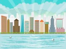 城市江边都市高层建筑物的摩天大楼
