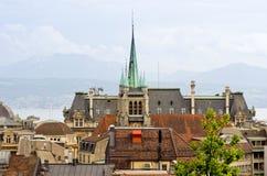 城市洛桑瑞士视图 免版税库存图片