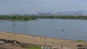 城市海滩是金属城市 Magnitogorsk,俄罗斯 影视素材