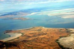 城市湖俯视的盐 库存照片