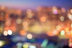 城市点燃Bokeh 免版税图库摄影