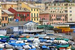 城市热那亚水平的意大利地中海老射击视图 免版税图库摄影
