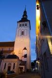 城市爱沙尼亚大厅老塔林托马斯塔城镇翻板天气 在街道和城镇厅上的老房子在晚上耸立 图库摄影