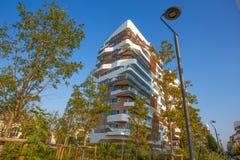 `城市生活`事务和住宅区, ` Tre Torri `,米兰,意大利新的现代大厦公寓房  免版税库存照片