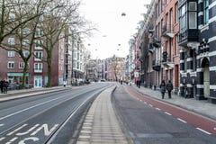 城市生活广角看法在阿姆斯特丹 图库摄影