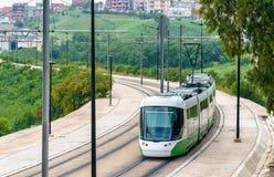 城市电车在康斯坦丁,阿尔及利亚 库存照片