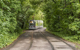 城市电车在莫斯科 免版税库存照片