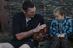 城市男孩首先看见了鸡 免版税库存照片