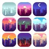 城市白天 清早日出日落、中午12点和黄昏晚上,夜都市风景摩天大楼大厦 都市集 向量例证