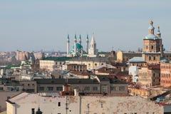 城市的中央历史部分 喀山俄国 免版税库存图片
