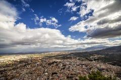 城市的全景从圣卡塔利娜城堡的  库存照片