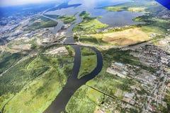 城市的全景从鸟` s眼睛视图的 Szczeci全景  免版税库存图片