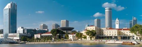 城市的全景在河附近的 免版税库存照片