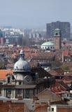 城市的全景有圣布勒斯教会的在背景中在萨格勒布 图库摄影