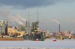 城市的冬天风景 免版税库存照片