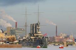 城市的冬天风景 库存照片