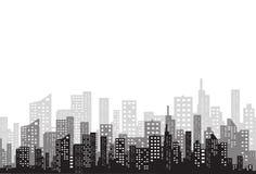 城市的剪影一个平的样式的 横向现代都市 也corel凹道例证向量 库存图片