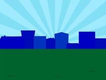 城市的剪影日出的 免版税图库摄影