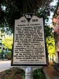 城市的历史标志燃烧在哥伦比亚,南卡罗来纳 库存图片