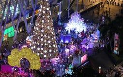 城市的夜光有圣诞树的 库存照片