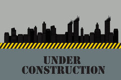 城市的大厦 建设中 向量 免版税库存图片