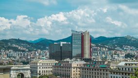 城市的意大利热那亚视图从上面 图库摄影